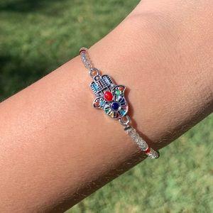 Elastic Hamsa bracelet with crystals 🤍